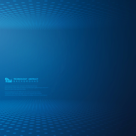 Abstract futuristic technology gradient blue dot circle pattern background. Decorating for modern tech presentation. You can also use for poster, ad, banner, cover design, art work. vector eps10