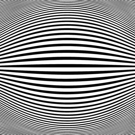Fondo nero astratto dell'occhio di pesce della linea op art della linea della banda. Riga nera dei dettagli del modello. vettore eps10 Vettoriali