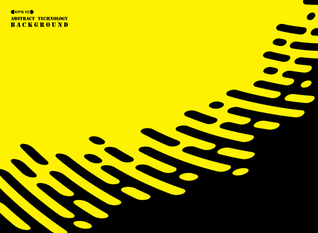 Abstract stripe line of black on yellow background. Modern design for technology artwork presentation. You can use for ad, poster, cover, annual report. vector eps10