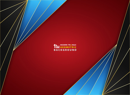 Abstract background luxury golden frame on gradient red black blue smooth soft pattern color cover. Decorating for ad, poster, brochure, print, cover artwork. Illustration vector eps10 Illusztráció