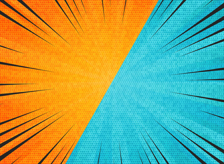 Abstract sun burst contrast orange blue colors background. You can use for hot sales promotion, versus, fight ad, poster, cover design. illustration vector eps10 向量圖像
