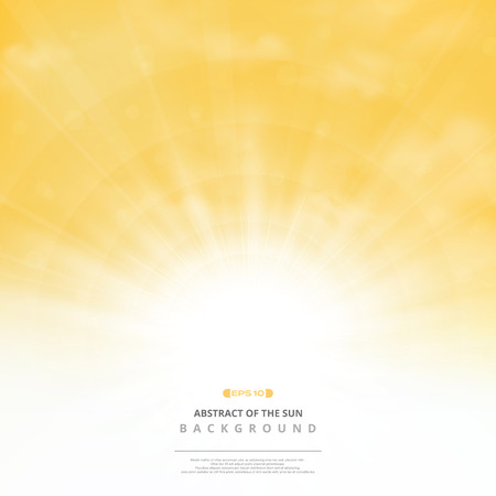 Abstract golden sun with clouds on soft gold sky background. You can use for post text, copy space, ad, poster, cover design, artwork, nature print. illustration vector eps10
