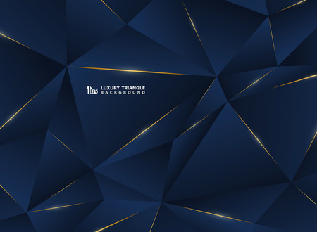 Abstracte luxe gouden lijn met klassieke blauwe sjabloon premium achtergrond. Decoreren in patroon van premium polygoonstijl voor advertentie, poster, omslag, print, artwork. illustratie vector eps10