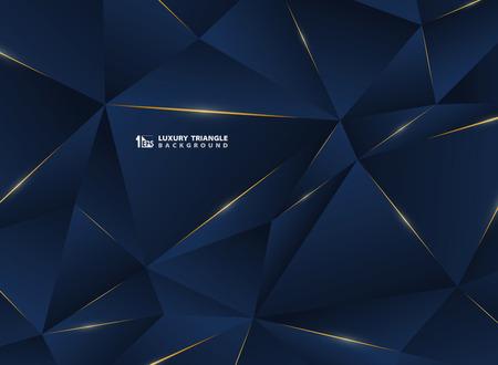 Abstrakte goldene Luxuslinie mit klassischem blauem Vorlagen-Premiumhintergrund. Dekorieren im Muster des Premium-Polygon-Stils für Werbung, Poster, Cover, Druck, Grafik. Illustrationsvektor eps10