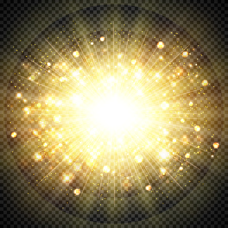 Abstract effect golden sun light for sun burst glittering element. You can use for bursting, sunny shine, artwork, decoration style. illustration vector eps10