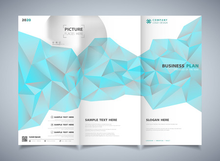 Abstract polygon blue color of brochure template design background. You can use for ad, poster, artwork design, print, advertisement. illustration vector eps10 Vector Illustratie