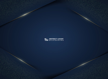 Abstract gradient dark blue luxury technology with gold glitters template background. You can use for ad, poster, presentation, layout, artwork, cover design, annual report. illustration vector eps10