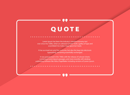 Abstract pink paper cut quote vector design for speech text copy template design. You can use for copy space of text, quote design, message, headline