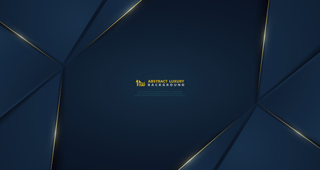 Abstract wide vector gradient dark blue with golden light line template. You can use for poster, luxury ad, presentation template, design artwork