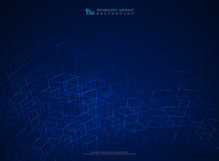 Abstract blue geometric line structure mesh futuristic background. You can use for technology poster, ad, artwork, annual report, cover design