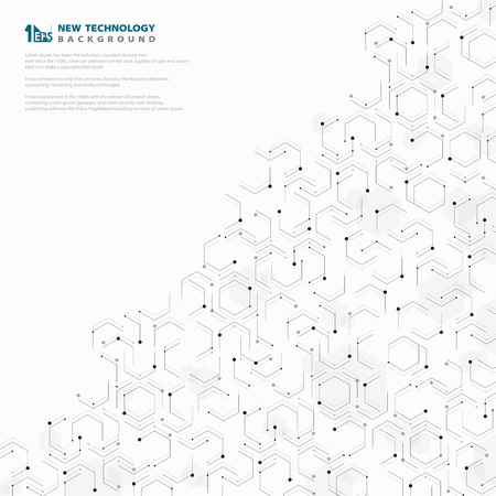 Abstract hexagonal geometric technology pattern design white and gray template. You can use for ad, poster, artwork, technology cover design, presentation Ilustração