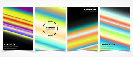 Abstract colorful line trendy brochure cover template set. You can use for set trendy brochure design, artwork, book, print Ilustração