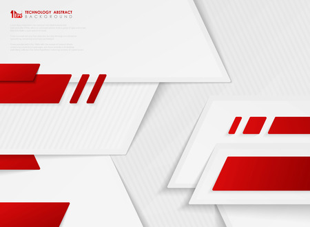 Abstract vector gradient red color of technology template on white background. You can use for template design, artwork, decoration tech template, artwork Ilustração