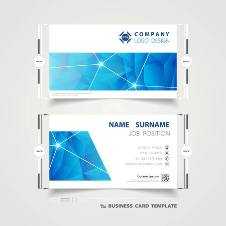 Abstract corporate blue technology name card template design for business. You can use for business card presentation, template design, artwork, print Ilustração