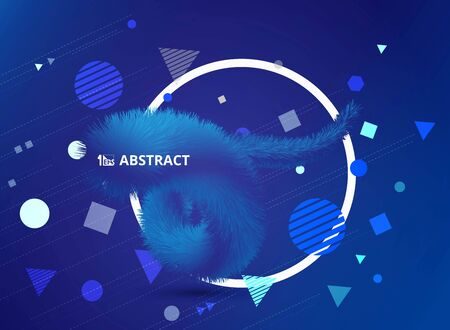 Abstract gradient blue color tech of realistic 3D feathers line decoration with geometric shapes design. You can use for cover design, artwork, template, annual report