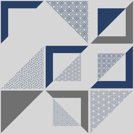 Abstract geometric blue pattern modern decoration design artwork. You can use for ad, poster, artwork, template design Ilustração
