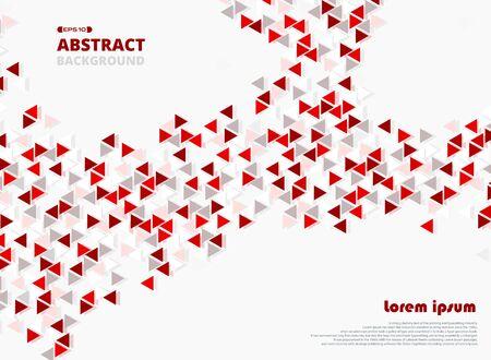 Abstract of red triangle geometrical pattern background with space. You can use for poster, presentation, template design. illustration vector Stock Illustratie