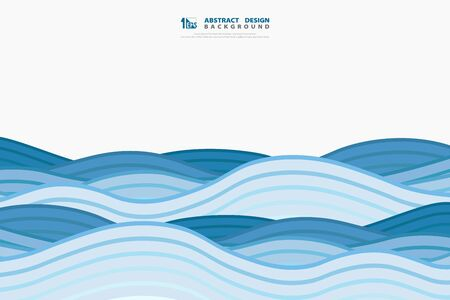 Abstract blue wavy of sea style decoratio. You can use for poster, artwork, template design. illustration vector eps10