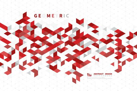 Abstract business red color of modern technology square geometric pattern design. You can use for business template, print, artwork, ad, headline. illustration vector eps10