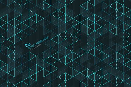 Abstract blue triangle lines of technology template design background. Decorate for poster, ad, artwork, cover design, presentation. illustration vector eps10 Archivio Fotografico - 131841328