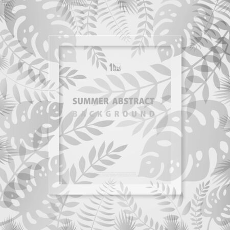 Abstract summer leaves design of trendy frame background. Decorate for poster, vacation artwork, festival, fresh content. illustration vector eps10