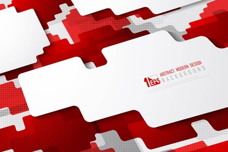 Abstract red square tech technology shape design background with halftone decoration. Decorate for poster, headline, artwork, template design, ad. illustration vector eps10
