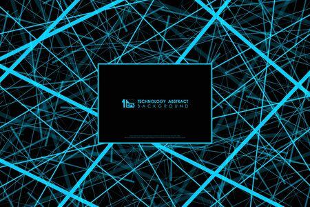 Abstract blue line tech design of futuristic pattern background. Use for energy template, ad, artwork, poster, poster. illustration vector Ilustração