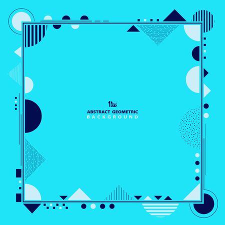Abstrakte blaue und weiße Farben dekorativ des geometrischen Musterrahmenhintergrundes. Dekorieren Sie für Anzeige, Poster, Vorlagendesign, Grafik. Illustrationsvektor eps10