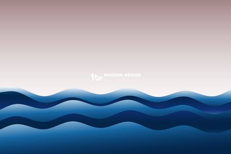 Abstract dark blue wavy sea pattern artwork background. Decorate for ad, poster, artwork, template design. illustration vector