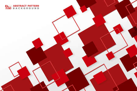 Abstract technology modern red square geometric pattern background. You can use for ad, poster, corporate presentation, annual report, cover design. illustration vector eps10 Ilustração Vetorial