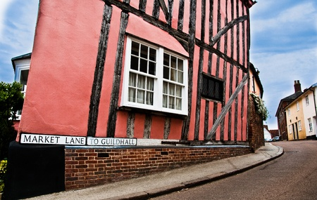 old town guildhall: Market Lane,, leading to Guildhall, Lavenham, UK