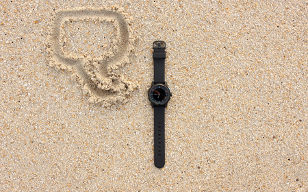 callout: smartwatch on sand. callout sketch on sand