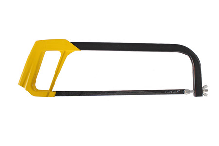 saw blade: hacksaw on white background. yellow handle. black  saw blade. Stock Photo