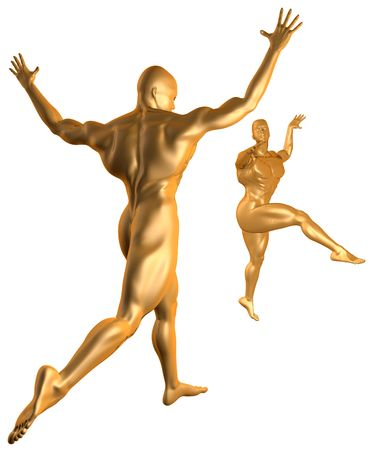 Cyber Dance Gold Stock Photo