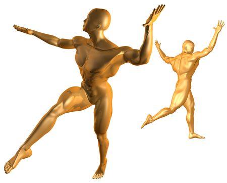 Cyber Dance Gold Stock Photo