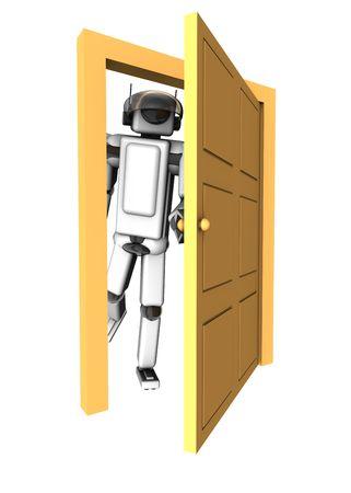 Robot opening the door to 3d. Stock Photo