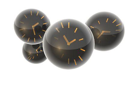 Clock in glass mass.