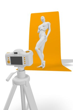 Photo session - act with the participation of the 3d woman. Stock Photo