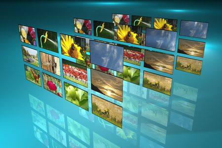 Television screens showing commercials 3d