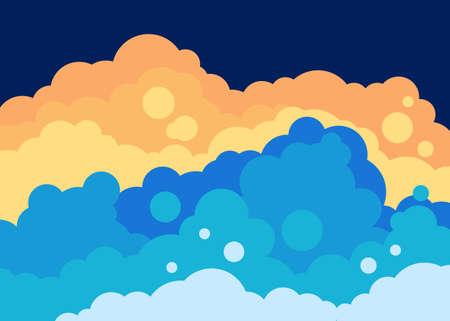 fluffy: Fluffy clouds landscape vector template Illustration
