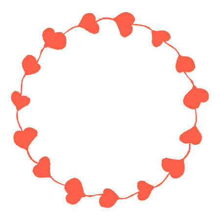 torn edges: Hand drawn round frame of hearts. Torn edges. Decoration for a v