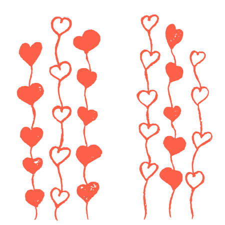 torn edges: Hand drawn hearts growing up like sprouts. Distress marks, torn edges, scruffy effect. Vector illustration