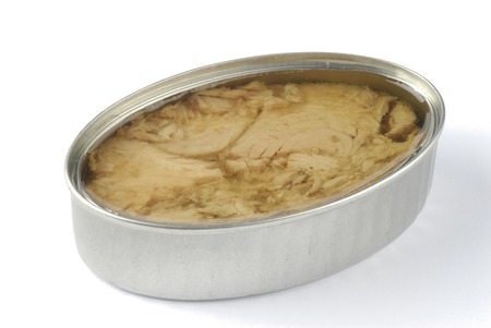 vegetable tin: canned tuna in vegetable oil shredded Stock Photo