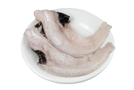 prehistory: Hake clean on white plate isolated