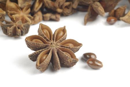 anise: Star anise, spice on grains