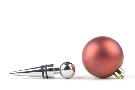 stopper: wine stopper with metal decorative christmas ball cherry Stock Photo