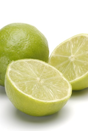 half open: lime and half open on white background Stock Photo