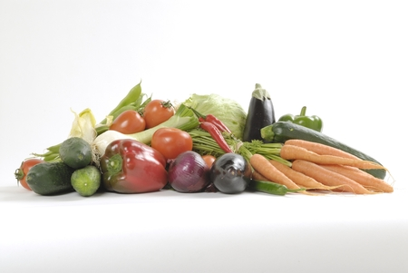 dieta: still life with vegetables on white background Stock Photo