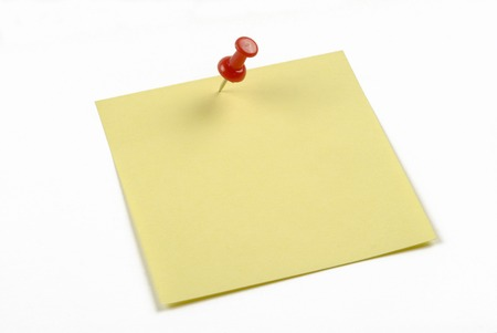 annotation: push pin and note paper office on white background Stock Photo