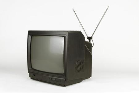 cathode ray tube: portable televisión on white background